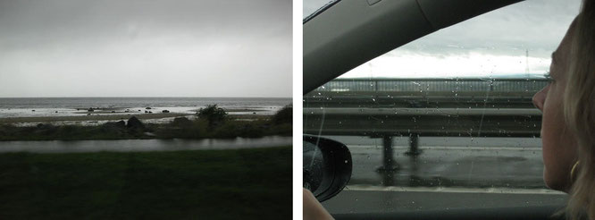 Scottish reality at a common weekday in summer: rain from Ayr (Prestwick) along the coast (Firth of Clyde, A78) towards Loch Lomond ...