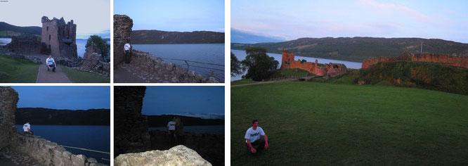 """Urquhart Castle am frühen Abend und zu vorgerückter Stunde (im weiteren Verlauf): """"Strange things going on"""". Warten auf..."""