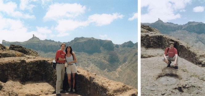 Kultstätte Almogaren, auf dem Gipfel des Roque Bentayga, Gran Canaria. Im Hintergrund der Roque Nublo, eines der Wahrzeichen Gran Canarias...