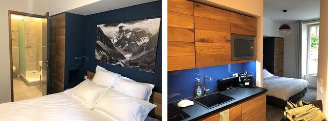 ...nahezu perfektes Bergsteiger-Quartier am Fuße des Mont Blanc, gehobene Ausstattung. In den Schutzhütten um Charpoua, Envers les Aiguilles, Talefre, Leschaux und Requin schwierig zu finden, mit jedem Höhenmeter sinkt der Komfort.