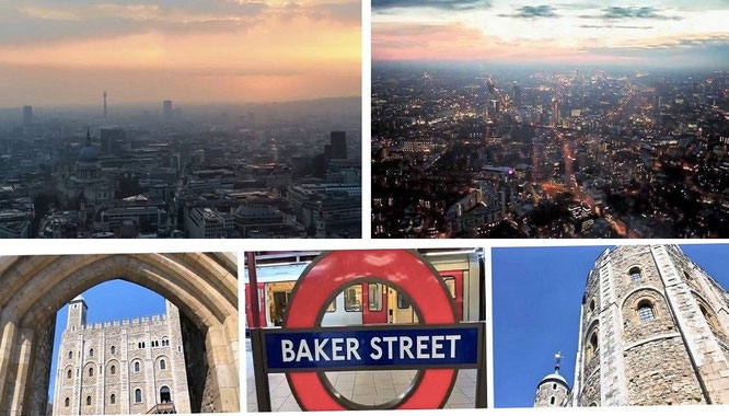 """London Nightfall, The Tower & Baker Street Station - tribute to Arthur Conan Doyle."""