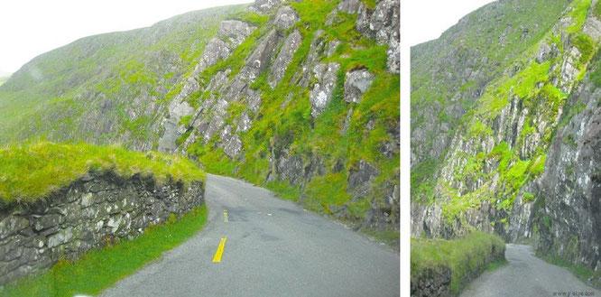 Traditioneller Straßenverlauf in Kerry...