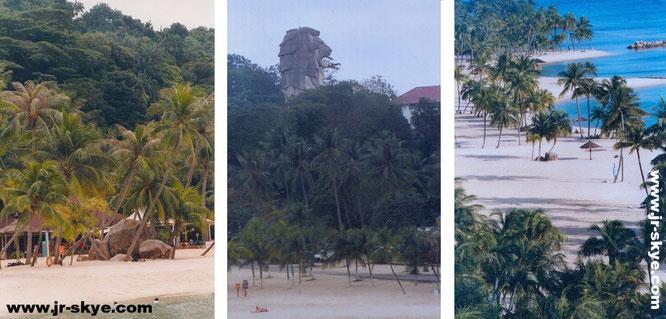 Auch das ist Singapur: Die kunstvoll aufgeschüttete Strandwelt (aus meiner Sicht: Daumen hoch!) auf Sentosa (inkusive Merlion), hier direkt östlich meines Basislagers Shangri La´s Rasa Sentosa...
