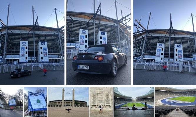 Volksparkstadion, Hamburg (Hamburger SV, 53° 35′ 13″ N, 9° 53′ 55″ E) und Olympiastadion Berlin (52° 30′ 52.66″ N, 13° 14′ 22.64″ E)...