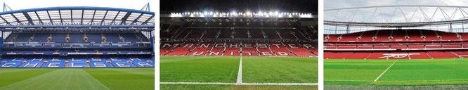 Stamford Bridge/London (Chelsea FC), Old Trafford/Manchester (Manchester United) & Emirates Stadium/London (Arsenal FC)...