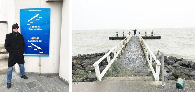 Am eisigen Vlietermonument (-5 Grad Lufttemperatur) bei Breezanddijk, IJsselmeer...