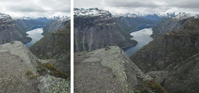Hier liege ich gemütlich auf der Felszunge von Trolltunga, Norwegen