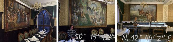 Herrschaftliches Proviant - einzunnehmen in diesem aufwendig dekorierten, prunkvollen Saal...