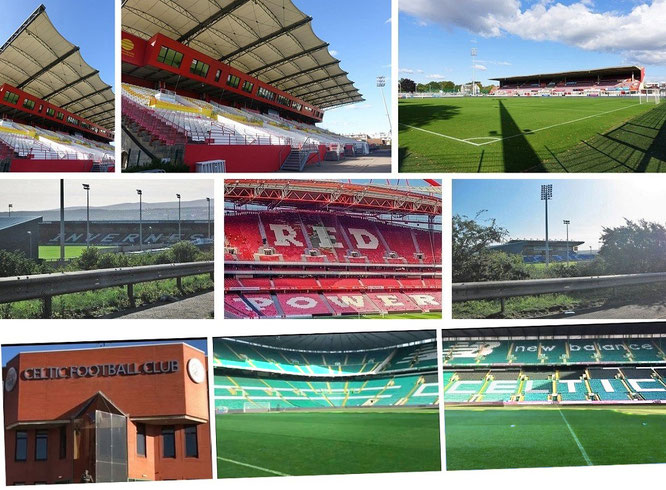 Stade Robert Diochon (Rouen, France), Celtic Park & Caledonian Stadium (Inverness Caledonian Thistle Football Club, Scotland - took these pics from the moving car during one of my trips through Scotland) & Estádio da Luz (Benfica/Lisbon, Portugal)...