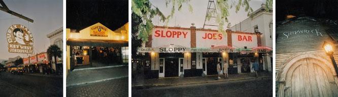 "Links Sloppy Joe´s Bar (""The Hemingway Bar"", roter Schriftzug), davor das legendäre Durty Harry´s, beide beheimatet in der Duval Street. Rechts die wahre Lieblingskneipe Ernest Hemingways..."