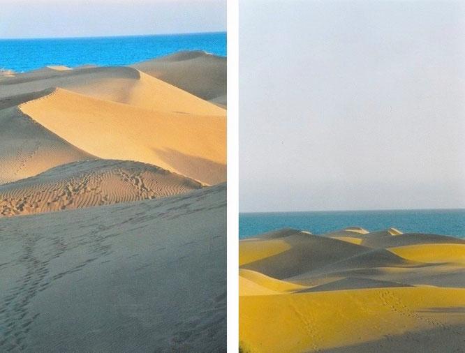 Grandioses Farbenspiel: Die Westsahara stellt ein Experimentierfeld des Elements Wind in einem sich – beinahe - selbst überlassenen, überdimensionalen Sandkasten dar (24° 26′ 47.45″ N, 12° 43′ 4.59″ W)…