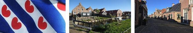 Links die außergewöhnliche Flagge der niederländischen Provinz Friesland, in der Mitte eine typische Häuserzeile in Hindeloopen. Rechts am (Jacht-)Hafen nördlich der Stadt Hindeloopen...