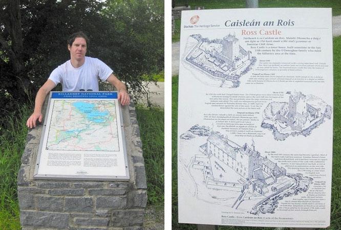 Karte des Killarney Nationalparks (l.) und Ross Castles (r.), beide am Ufer des Lough Leane (52° 2′ 29.07″ N, 9° 31′ 53.59″ W)...