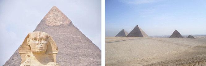 Große Sphinx von Gizeh und Pyramiden von Gizeh, Ägypten (29° 58′ 31″ N, 31° 8′ 15″ E)...