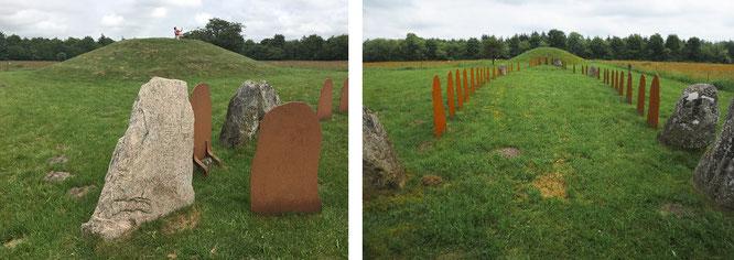 """Links befinde ich mich auf Hügelgrab A mit Blick auf sein Pendant im Osten. Rechts die Schiffssetzung, Querschnitt, Perspektive """"Westlicher Runenstein"""". Ihr erkennt jene Stahlplatten, die die fehlenden Steine des Bauwerks ersetzen..."""
