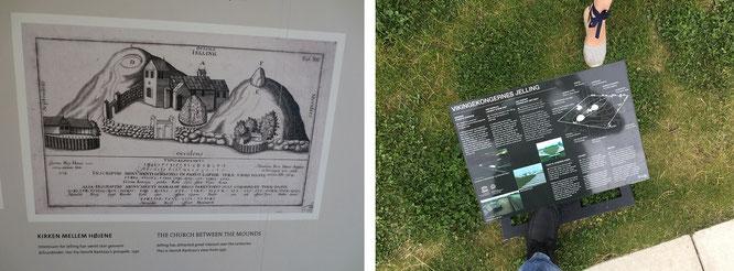 """Kirche, Grabhügel und Runensteine - historisches Schema, Jelling Kirke (links) und """"Vikingekongernes Jelling"""", modernes Schema (rechts)..."""