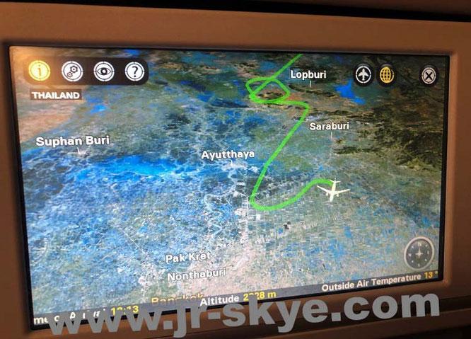 Bangkok Landeanflug Flugzeug Airplain Curvey winding approach Ayutthaya Saraburi Lopburi Suphan Buri Thailand