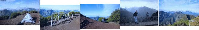 Besteigung des zumeist nebelverhüllten Pico Ruivo, des höchsten Berges Madeiras (1.862 Meter) an einem meteorologisch völlig klaren Tag. Zusammenschnitt von 3 Gipfel-Einzelbildern (rechts me, links T.)