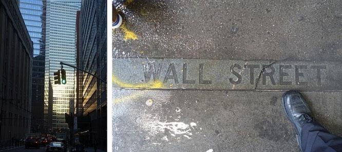 Wall Street, Manhattan, New York City - grünes Licht und gebrochener Beton (inklusive meines rechten Fußes, direkt an der Stock Exchange #NYSE) - meine Besuche und Trades: hier, auf diesen Seiten...