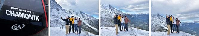 Im Schatten des Mont Blanc, zusammen mit Mona-Liza und Reiseblogger Ravi (und Varun) aus Indien - letztgenannte auf der Suche nach Überresten der Lockheed L-749/Air-India/Flug 245...