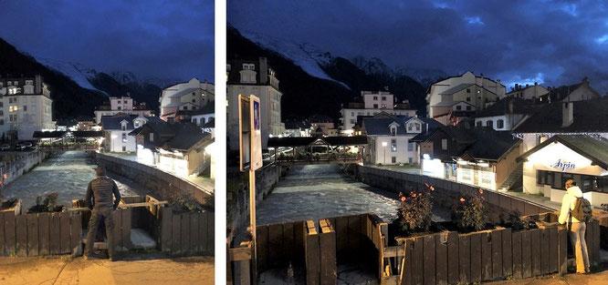 Chamonix in den frühen Abendstunden mit direktem Blick auf Arve (mündet bei Genf in die Rhône)...