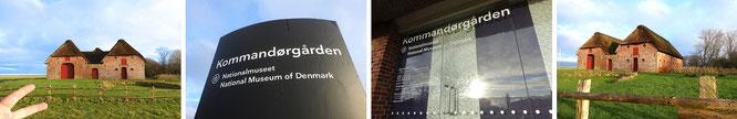 Kommandörgarden in Toftum (inkl. meiner linken Hand). Angeschlossen an das Museum ist die sich in der Nähe auf freiem Feld befindliche Kleinste Schule Dänemarks...