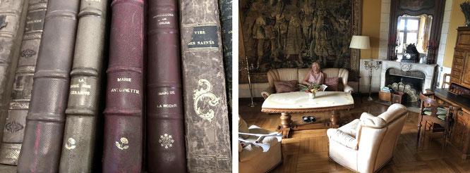 Marie Antoinette (l.) und Mona-Liza (r.). Bibliothek Chateau d´Hattonchatel, Frankreich