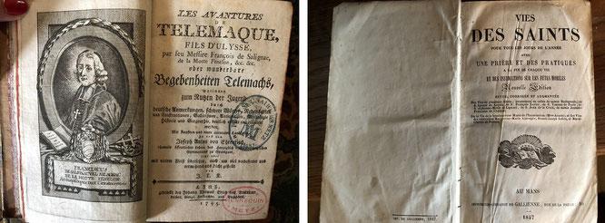 """""""Les Aventures de Telemaque oder wunderbare Begebenheiten Telemachs"""", François de Salignac de La Mothe-Fénelon, 1795 und """"Vies Des Saints"""", Au Mans, Gallienne, 1847"""