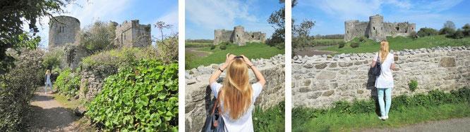 Manorbier Castle (links) und Carew Castle (Mitte und rechts) sind 2 Burganlagen, die Ihr von Tenby aus in weniger als 10 Kilometern erreichen könnt...