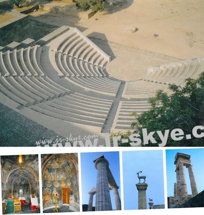 """""""Byzantine architecture - preserved in thousands of Orthodox chapels and churches."""" Südliche Akropolis Rhodos-Stadt, Theater und Arena (800 Zuschauer), Monte Smith..."""