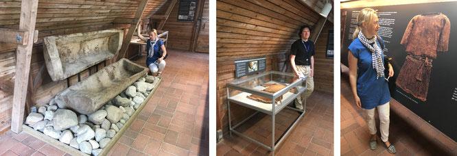 Das Mädchen von Egtved: Replikation des 2 Meter langen Eichensarges (links) im Museum am Originalschauplatz zwischen Vejle und Billund...