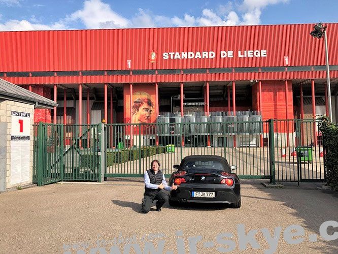 """""""From Brussels to Liege: with one of my sportscars in front of Maurice-Dufrasne-Stadium (Stade de Sclessin), Standard de Liege (Standard Lüttich), Belgium, (50° 36′ 35.67″ N, 5° 32′ 36.04″ E)."""""""
