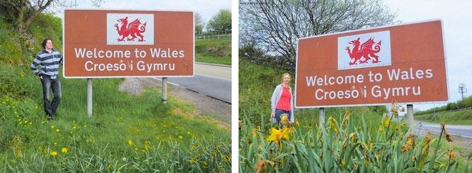 Welcome to Wales - dieses Schild (in meiner Sammlung der Begrüßungs-Etikette unter den Top 20) passiert Ihr unmittelbar nach Eurer Überquerung des Bristolkanals (M48)...