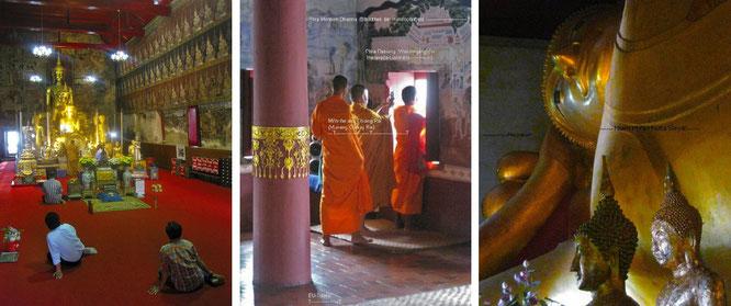 Wat Mahathat Worrawihan, Phetchaburi (links und Mitte) sowie Wat Phra Non, Phetchaburi (rechts)...