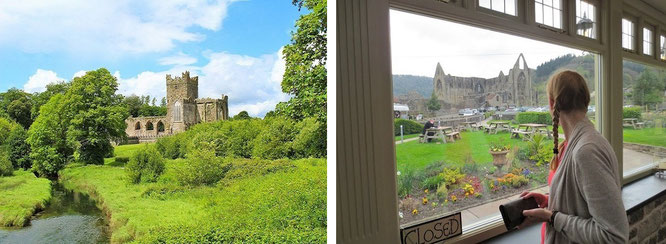 Perspektive A (Flüsschen Wye, l.) & B (direkt aus dem Abbey-Restaurant, r.) auf den 1. Höhepunkt Eurer zukünftigen Wales-Reise...