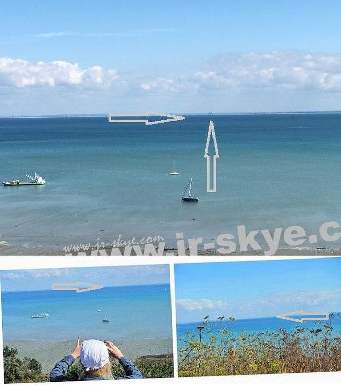 Mont-Saint-Michel, Normandie - Atlantikblick, Entfernung/Luftlinie 25,41 Kilometer. Perspektive/Standpunkt: Cancale, Bretagne (48° 40′ 36″ N, 1° 51′ 7″ W)...