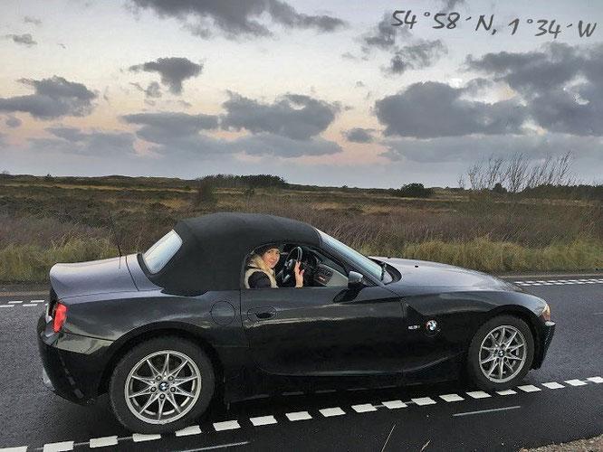 Mit einem meiner Sportwagen von Dover nach Cornwall und von Dartmeet (Dartmoor) nach Tyne and Wear (Hadrianswall)...