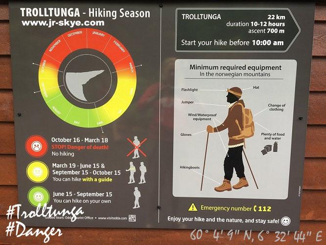 Trolltunga - die Spielregeln. Dieses Schild gehört zum Inventar der meisten Camps in und um Odda...