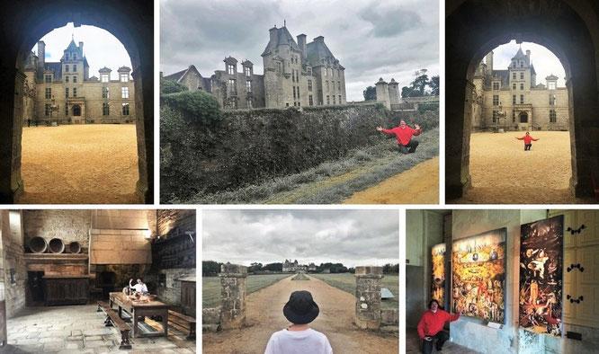 """Düsteres Château de Kerjean, Saint Vougay, Department Finistère (48° 34′ 49.8″ N, 4° 8′ 49.92″ W). Inklusive Hieronymus Boschs verstörendes Werk """"Der Garten der Lüste"""" (ca. 1490 - 1500, rechts unten, Kopie, Original im Museo del Prado, Madrid)."""