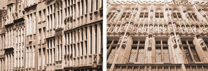 Brüssel - endlos dahinziehende, reich verzierte  Häuserfassaden und einzelstehende, noch mehr verzierte Hausfassaden...