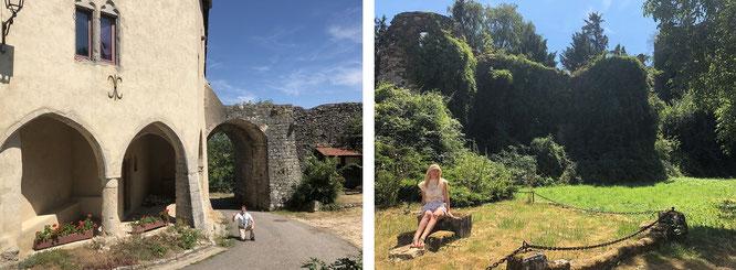 In mittelalterliche Gebäude integrierte Stadtmauern oder mit Gemeinem Efeu überwucherte Ruinen einst glanzvoller Cháteaus...