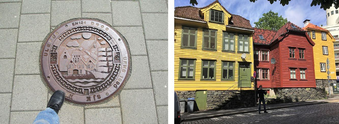 UNESCO World Heritage site of Bryggen/Bergen, Norway. The 'city of seven mountains' (60° 23′ 22″ N, 5° 19′ 48″ E)...