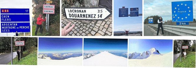 Auf dem Gipfel des Mont Blanc & von Chamonix Mont-Blanc nach Mortagne au Perche - Locronan - Paris - Nancy...