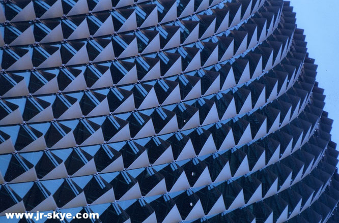 """...took it in Singapore: Aluminium sunshades roof ornament of performing arts centre Esplanade, Theatres on the Bay #Singapore."""