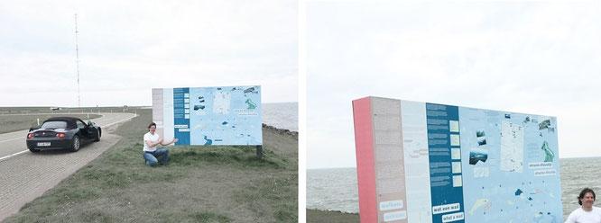 Fahrt über den 32 Kilometer langen, mehrspurigen IJsselmeer-Damm (Afsluitdijk)...
