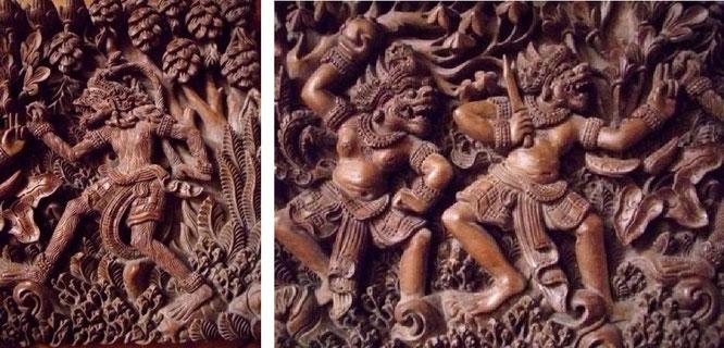 """Aus dem indischen Nationalepos """"Ramayana"""" - gesehen in Bangalore, Indien"""