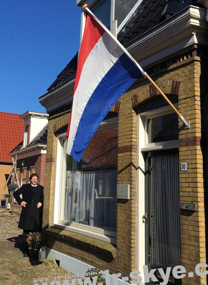Flagge der Republiek der Zeven Verenigde Provinciën – statt Orange (als Gegenstück zur Prinsenvlag) hier erstmals Rot: Ab 1795 stehen diese Farben für die Niederlande…