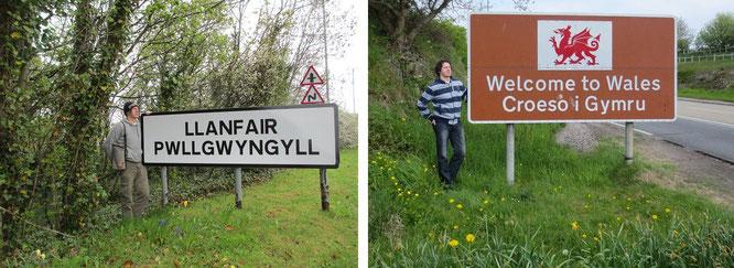 Welcome to Wales: Chepstow, Monmouthshire, South East Wales, GB (r., 51° 36′ 32,4″ N, 2° 38′ 18,2″ W) and Llanfairpwllgwyngyll(gogerychwyrndrobwllllantysiliogogogoch (l., 53° 13′ N, 4° 12′ W)...