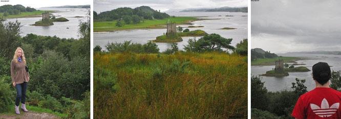 Castle Stalker stalken: so präsentiert sich Euch Euer kleiner Beobachtungs-Stützpunkt (Mitte), wenn Ihr Euch entschließen solltet, den selbigen in Richtung Loch Laich hinunter zu kraxeln...