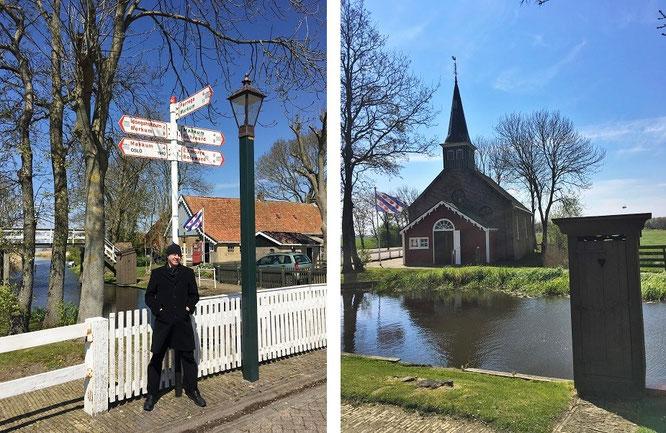 Freilichtmuseum Allingawier. Die Distanz Museum - Workum beträgt offensichtlich 8, die Entfernung Museum - Makkum 4 Kilometer...